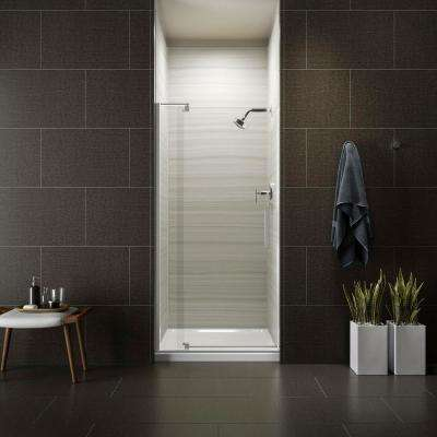 Revel 36 in. W x 70 in. H Frameless Pivot Shower Door in Bright Polished Silver with Handle
