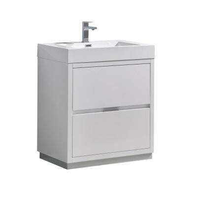 Valencia 30 in. W Bathroom Vanity in Glossy White with Acrylic Vanity Top in White