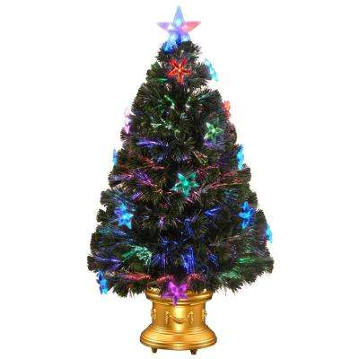 3 ft. Fiber Optic Fireworks Artificial Christmas Tree with Star Decorations