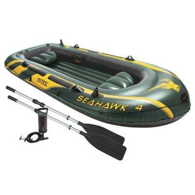 Intex Seahawk 4 Inflatable 4 Person Floating Boat Raft Set with Oars and Air Pump