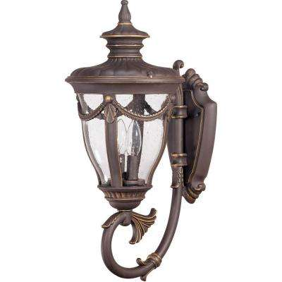 2-Light Outdoor Belgium Bronze Mid-Size Wall Lamp with Arm Up and Seeded Glass