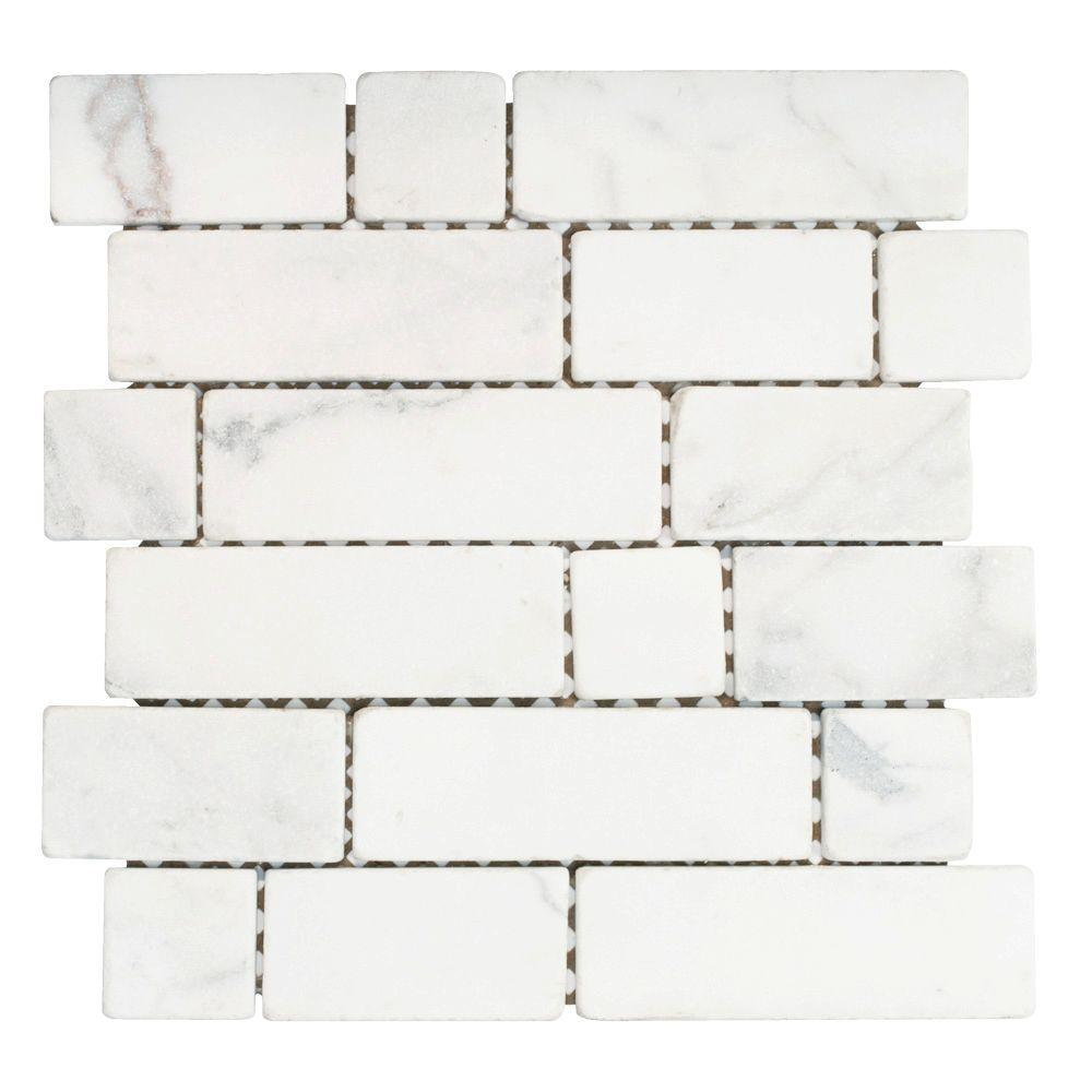 Jeffrey Court Statuario Block White 12 in. x 12 in. x 8 mm Marble Mosaic Tile