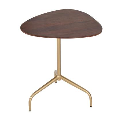 Isla Walnut Top and  Gold Base Mango Wood Side Table