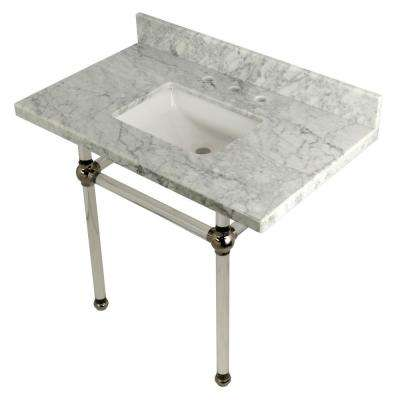 Square-Sink Washstand 36 in. Console Table in Carrara Marble with Acrylic Legs in Polished Nickel