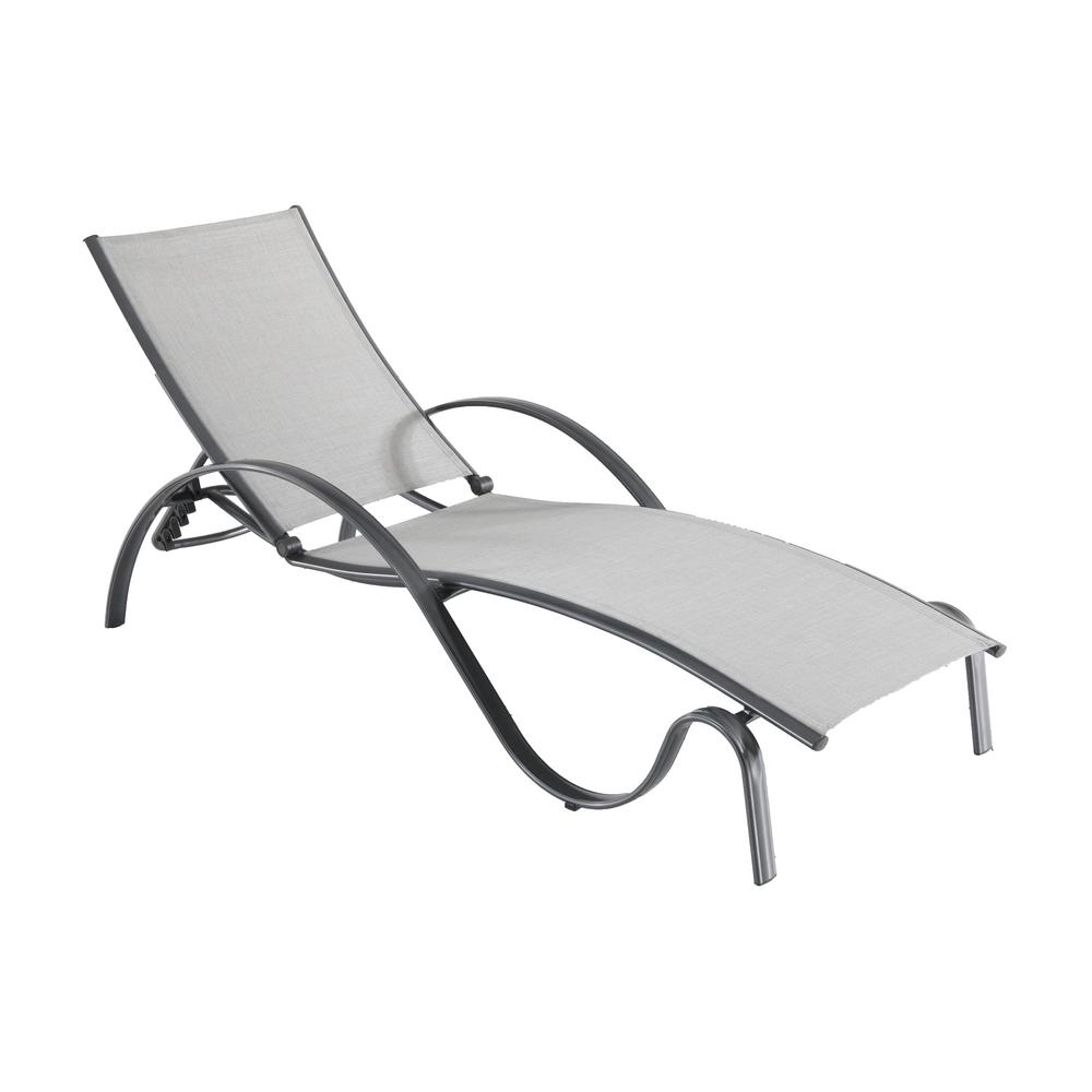 Hampton bay commercial grade aluminum light gray outdoor for Bay window chaise lounge