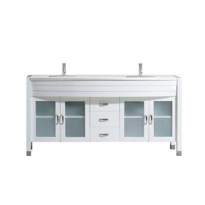 Ava 63 in. W x 22 in. D Double Vanity in White with Stone Vanity Top in White with White Basin with Chrome Faucet