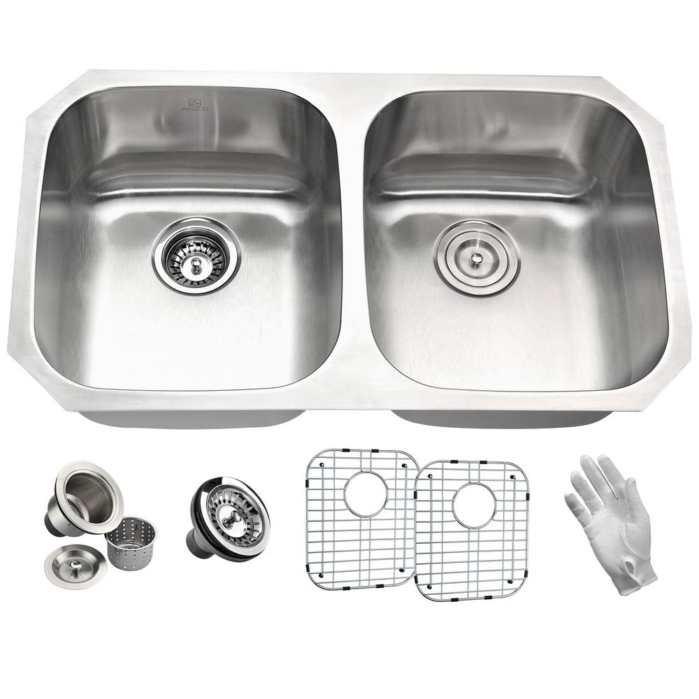 ANZZI MOORE Series Undermount Stainless Steel 32 in. 0-Hole Double Bowl Kitchen Sink