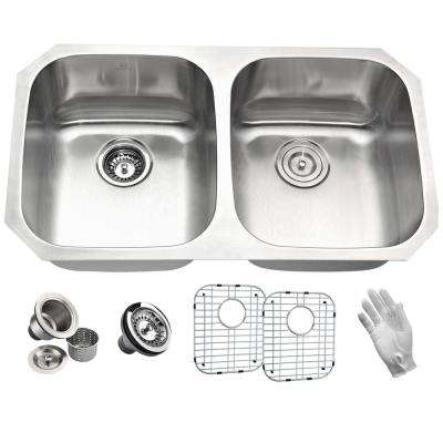 MOORE Series Undermount Stainless Steel 32 in. 0-Hole Double Bowl Kitchen Sink