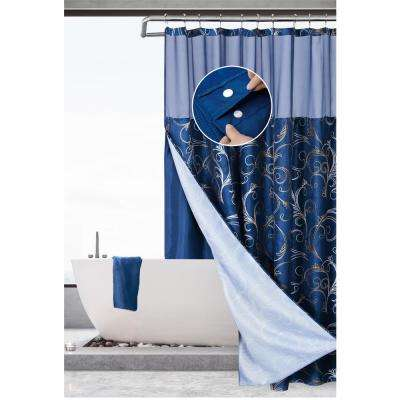 Hotel Complete Waffle 70 in.  x 72 in. Blue/Gold Swirl Shower Curtain with Snap On/Off Waterproof Liner Set