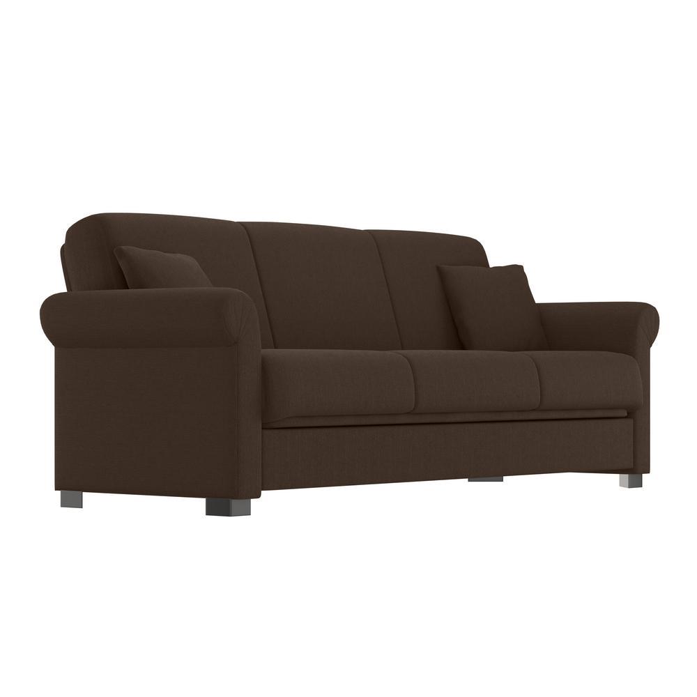 Erika Chocolate Brown Linen Convert-a-Couch