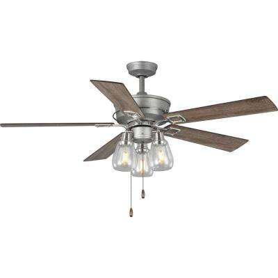 Teasley 56 in. Five-Blade Galvanized Integrated LED Ceiling Fan