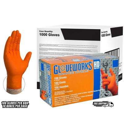Diamond Texture Orange Nitrile Industrial Latex Free Disposable Gloves (Case of 1000)