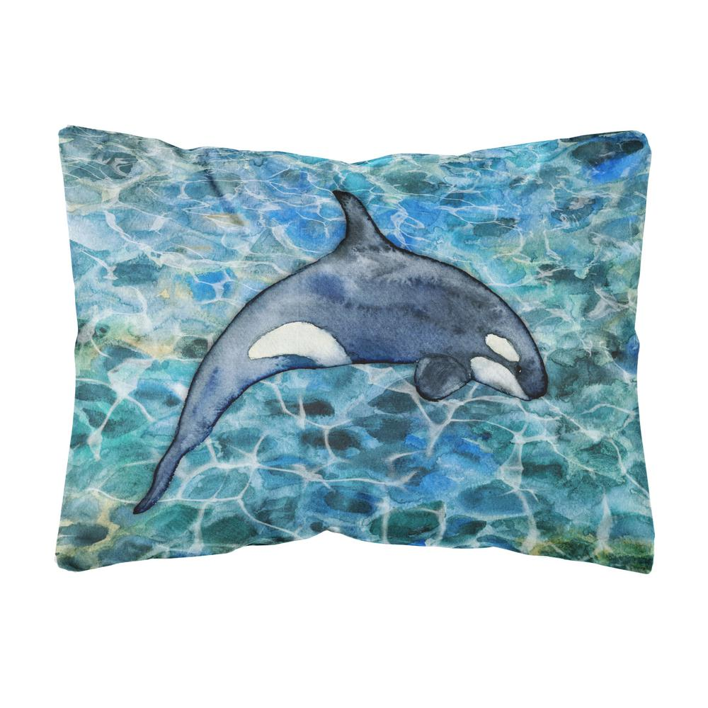 Caroline's Treasures 12 in. x 16 in. Multi-Color Lumbar Outdoor Throw Pillow Killer Whale Orca #2