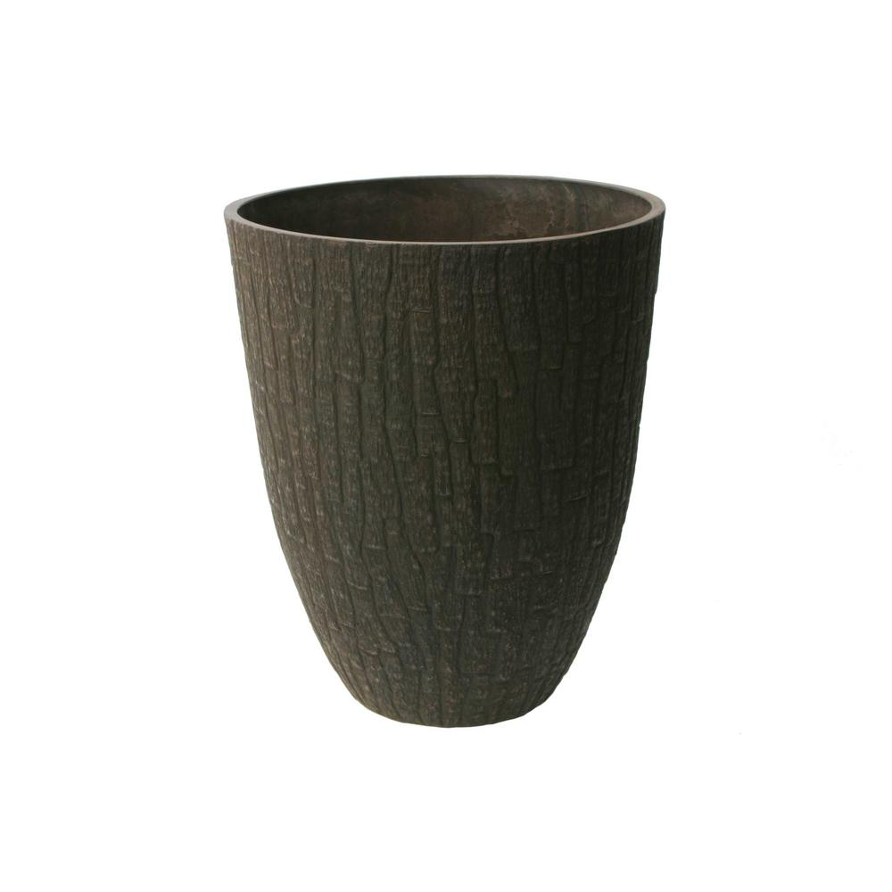 Valencia 15 in. x 18 in. Round Tree Bark Plastic Planter