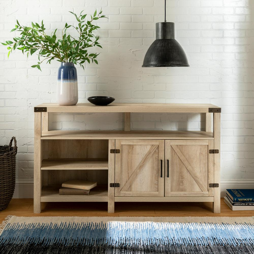 Walker Edison Furniture Company 16 in. White Oak Wood TV Console 65 in. with Adjustable Shelves was $388.66 now $235.62 (39.0% off)