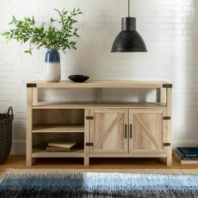 16 in. White Oak Wood TV Stand 65 in. with Adjustable Shelves
