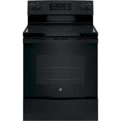 30 in. 5.3 cu. ft. Free-Standing Electric Range with Self-Cleaning Oven in Black