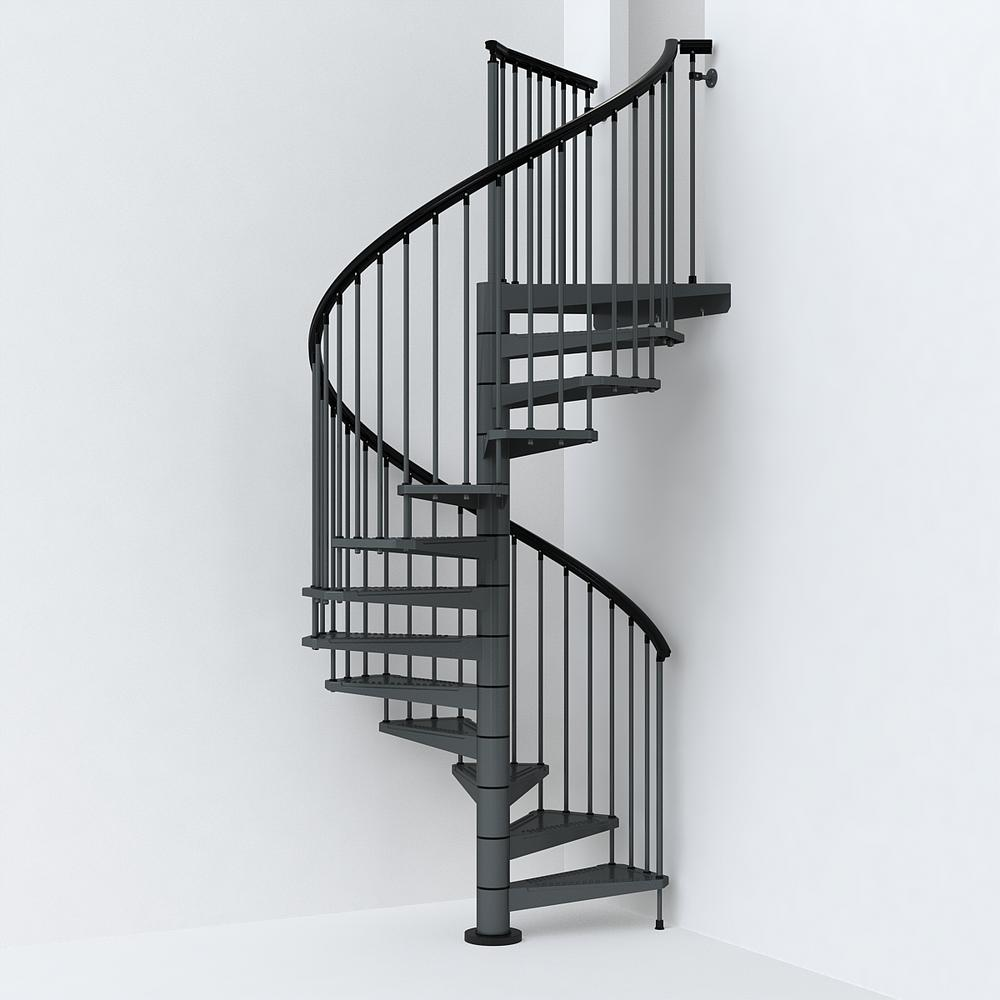 Sky030 63 In Iron Grey Spiral Staircase Kit K26290 The