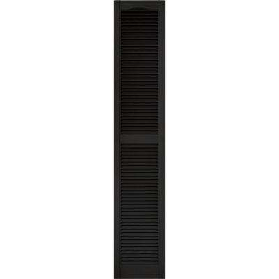 15 in. x 80 in. Louvered Vinyl Exterior Shutters Pair #002 Black