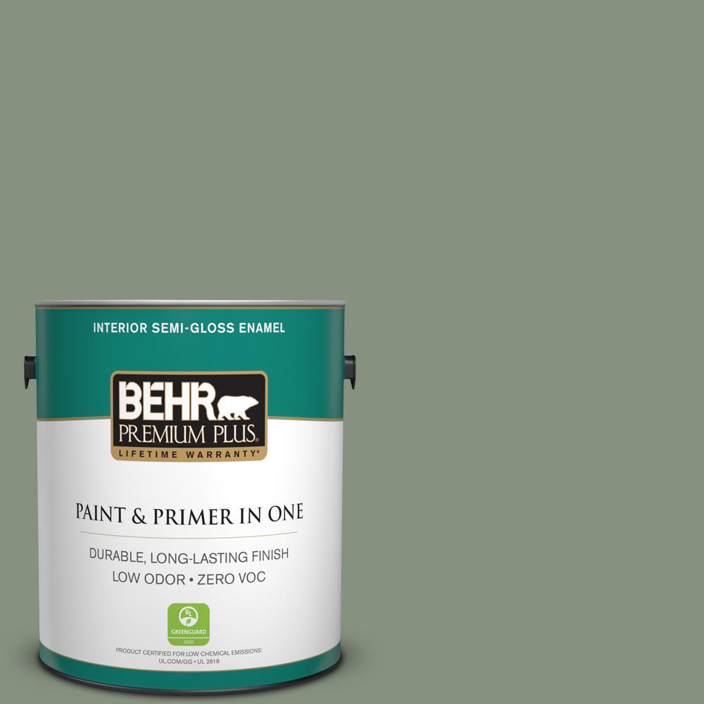 1-gal. #N390-5 Eucalyptus Wreath Semi-Gloss Enamel Interior Paint