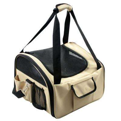 Khaki Ultra-Lock Collapsible Safety Travel Wire Folding Dog Car Seat Carrier