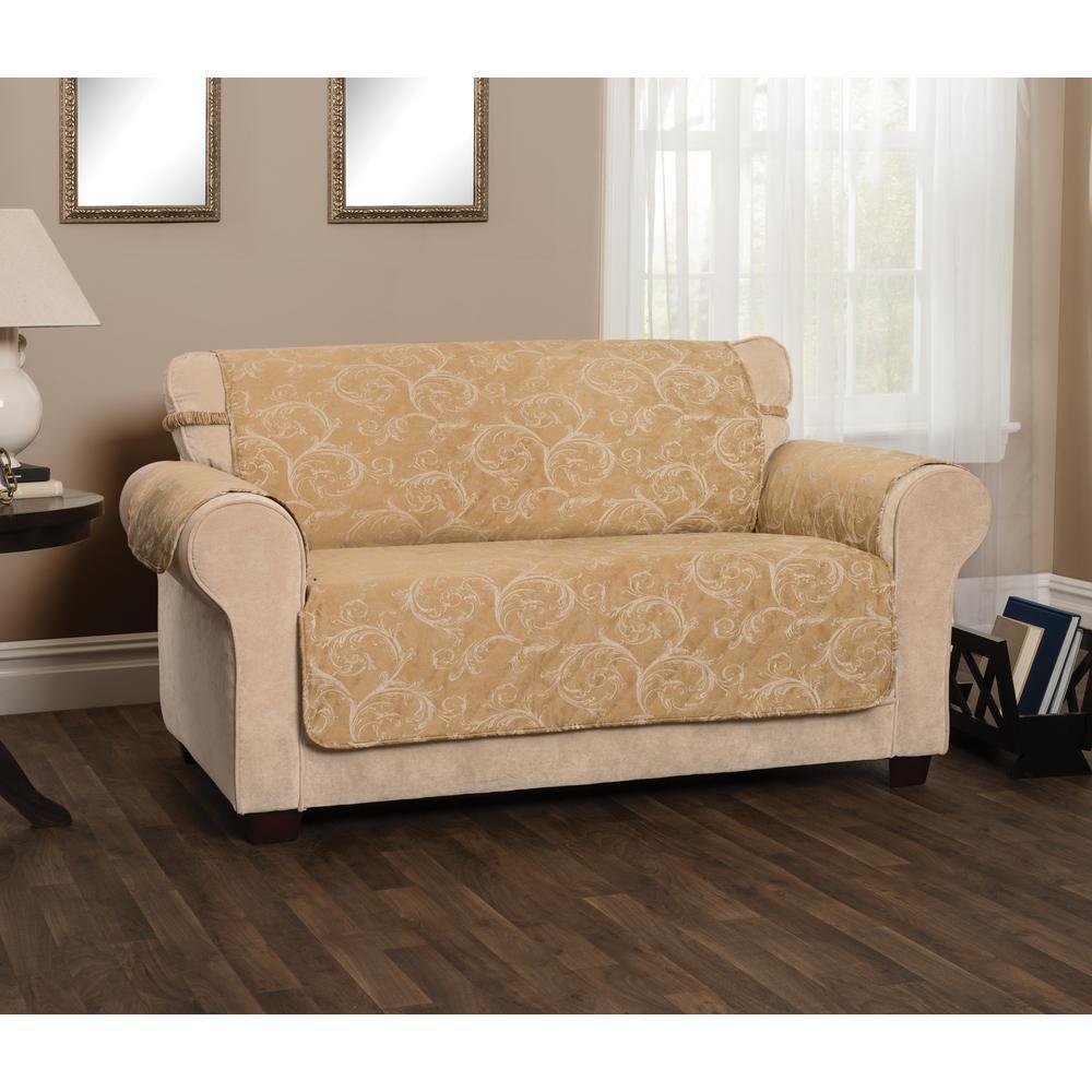 Lemont Scroll Slipcover Gold Jacquard Loveseat Furniture Cover