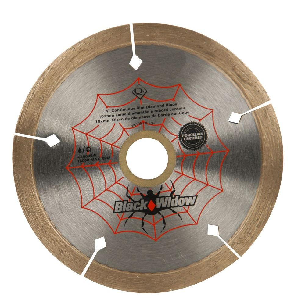 4 in. Black Widow Micro-Segmented Diamond Blade for Porcelain and Ceramic