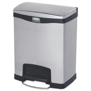 Slim Jim 8 Gal. Step-On Stainless Steel Metal Front-Step Containers in Black