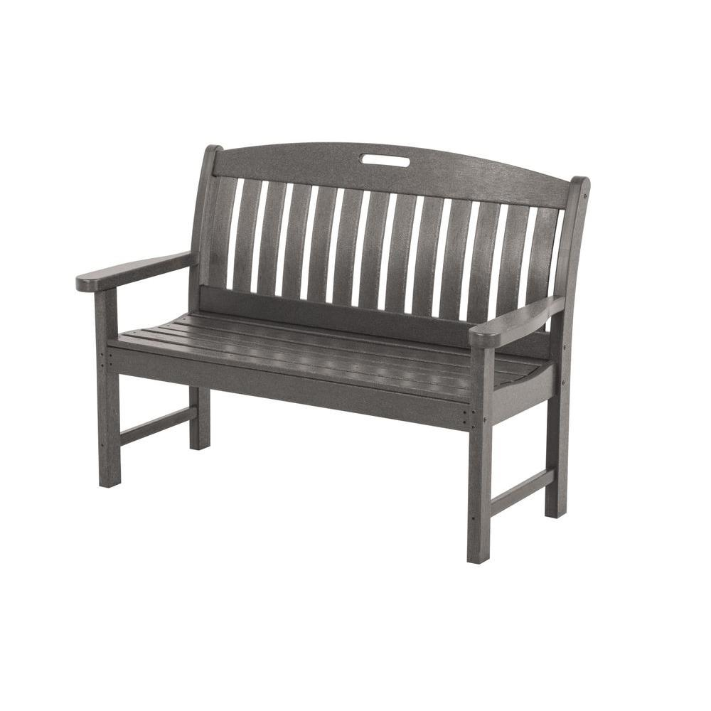 Nautical 48 in. Slate Grey Plastic Outdoor Patio Bench
