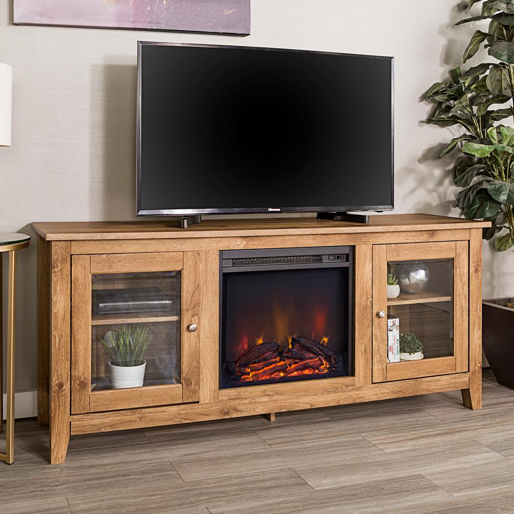 Walker Edison Furniture Company 58 In. Wood Media TV Stand Console With  Fireplace   Barnwood