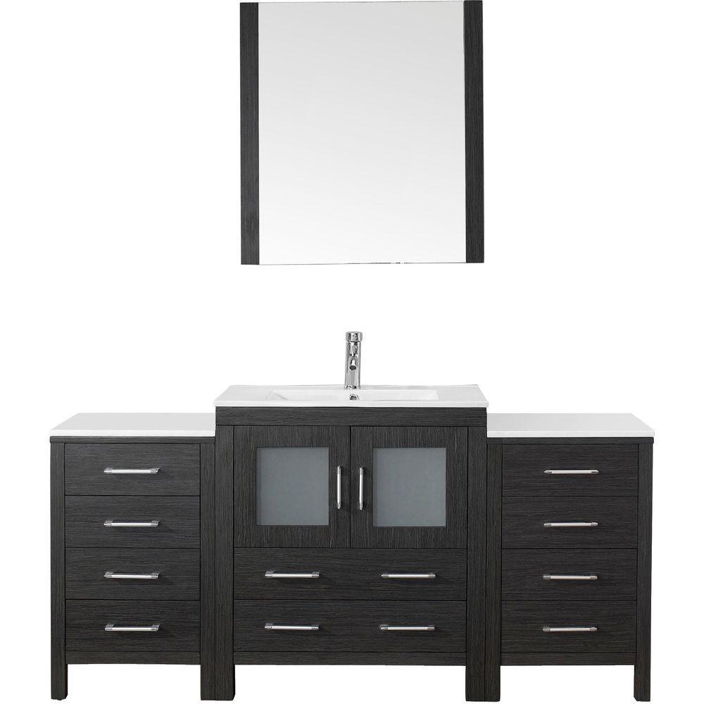 Virtu USA Dior 66 in. W x 18.3 in. D Vanity in Zebra Grey with Ceramic Vanity Top in White with White Basin and Mirror