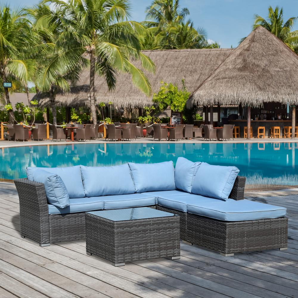 Jicaro Gray 5-Piece Wicker Outdoor Sectional Set with Light Blue Cushions
