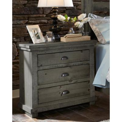 Willow 3-Drawer Distressed Dark Gray Nightstand