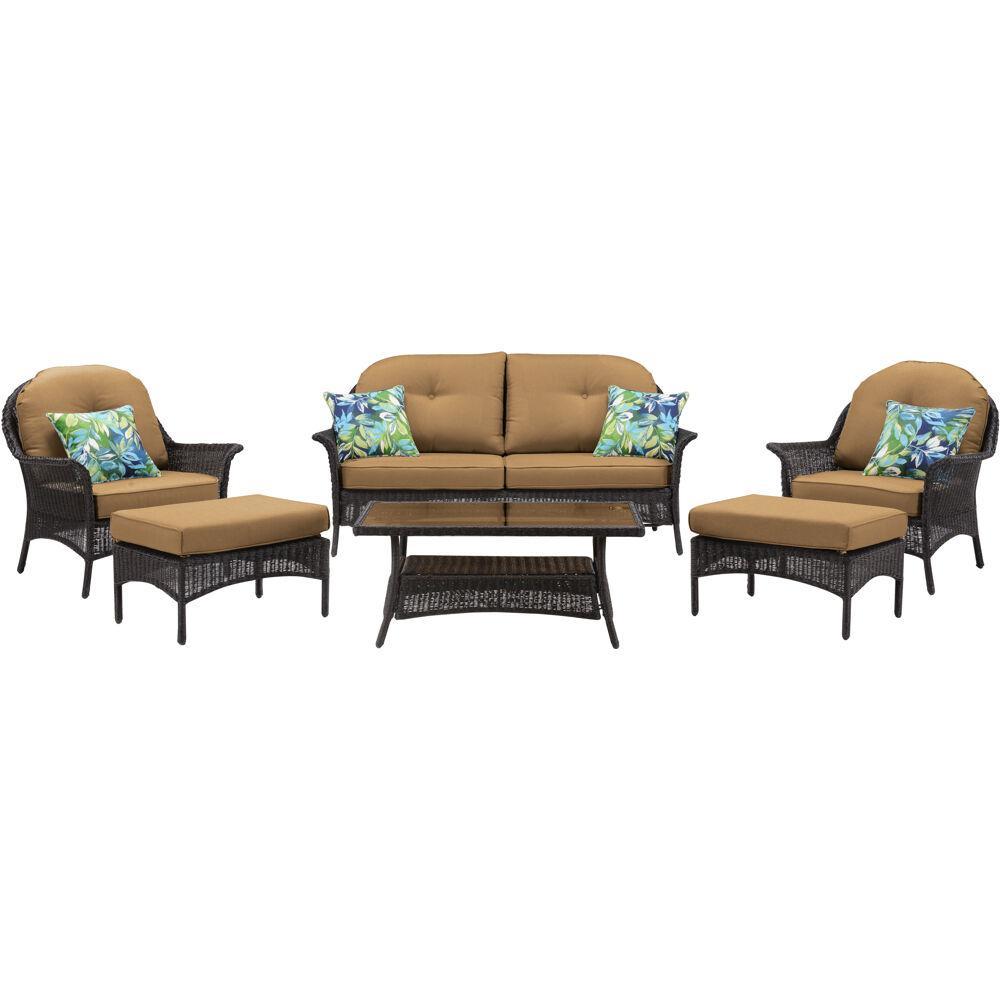 Sun Porch 6-Piece Wicker Patio Conversation Set with Plush Country Cork Cushions