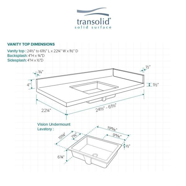 Transolid 24 75 In W X 22 25 In D Solid Surface Vanity Top In Sand Mountain With White Basin And Single Hole Vt24 75x22 1ku 94 A W 1 The Home Depot
