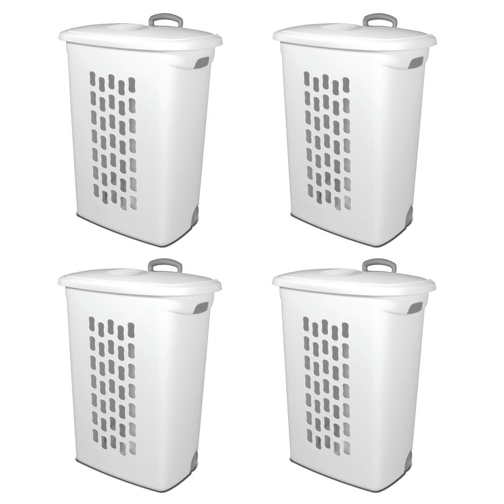 Sterilite White Plastic Laundry Hamper With Lift Top Wheels And Pull Handle 4 Pack 4 X 12228003 The Home Depot