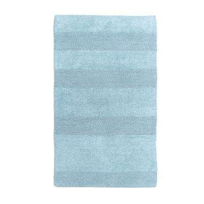 Wide Cut Light Blue 30 in. x 20 in. Reversible Bath Rug