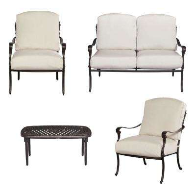 Edington 4-Piece Patio Conversation Set with Cushions Included, Choose Your Own Color