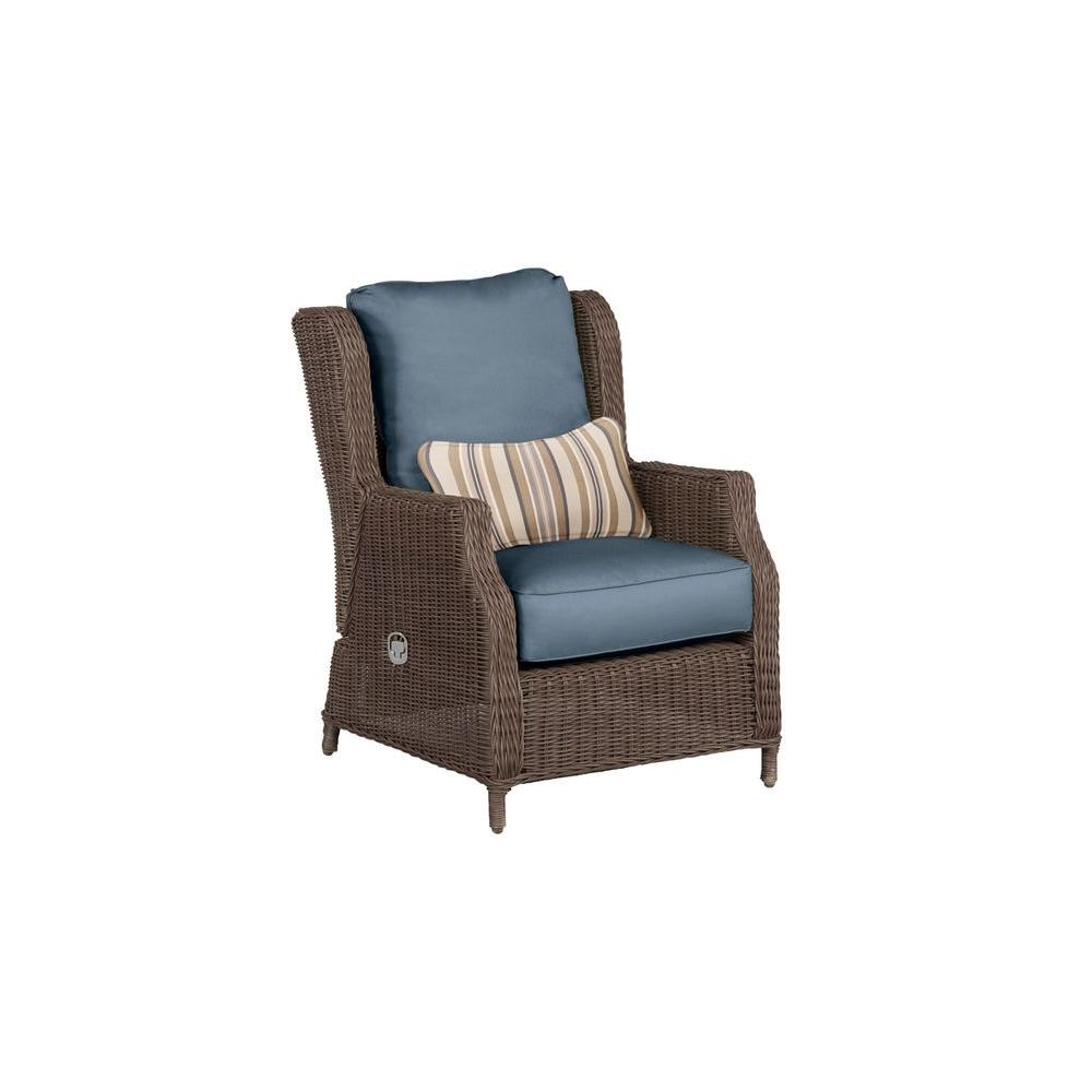 Vineyard Patio Motion Lounge Chair in Denim with Terrace Lane Lumbar