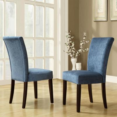 Espresso Royal Blue Chenille Parson Chair (Set of 2)