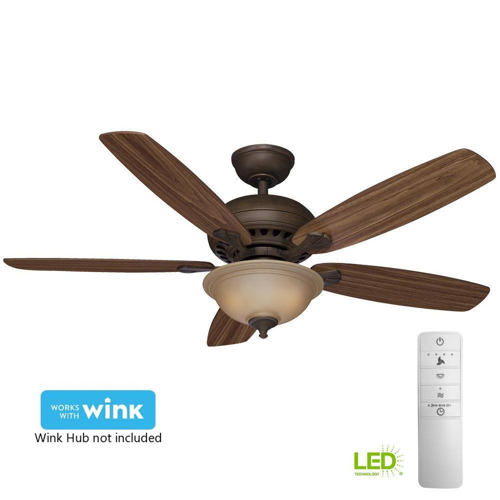 Led Indoor Venetian Bronze Smart Ceiling Fan With Light Kit