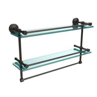 22 in. L  x 12 in. H  x 5 in. W 2-Tier Gallery Clear Glass Bathroom Shelf with Towel Bar in Oil Rubbed Bronze