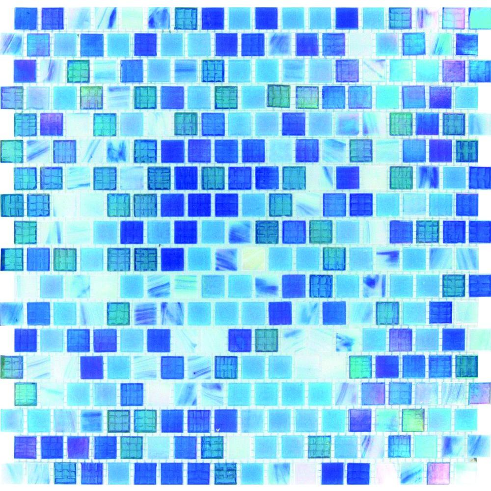 MSI Opaque Blue 12 in. x 12 in. x 4mm Glass Mesh-Mounted Mosaic Wall ...