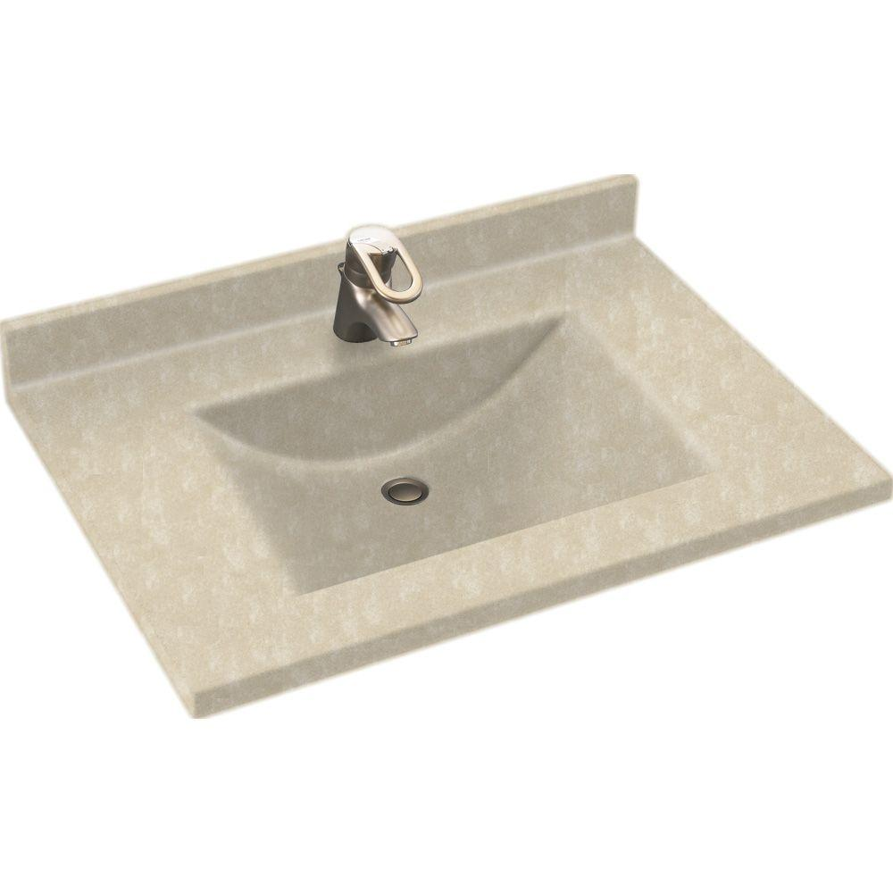 Swanstone Contour 37 in. Solid Surface Vanity Top with Basin in Cloud Bone