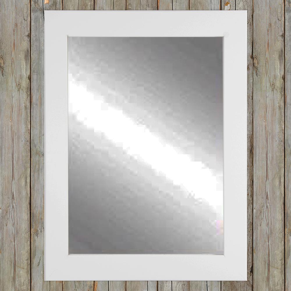 Comfort 32 in. x 50 in. Framed Single Wall Mirror in White-AV3L2 ...