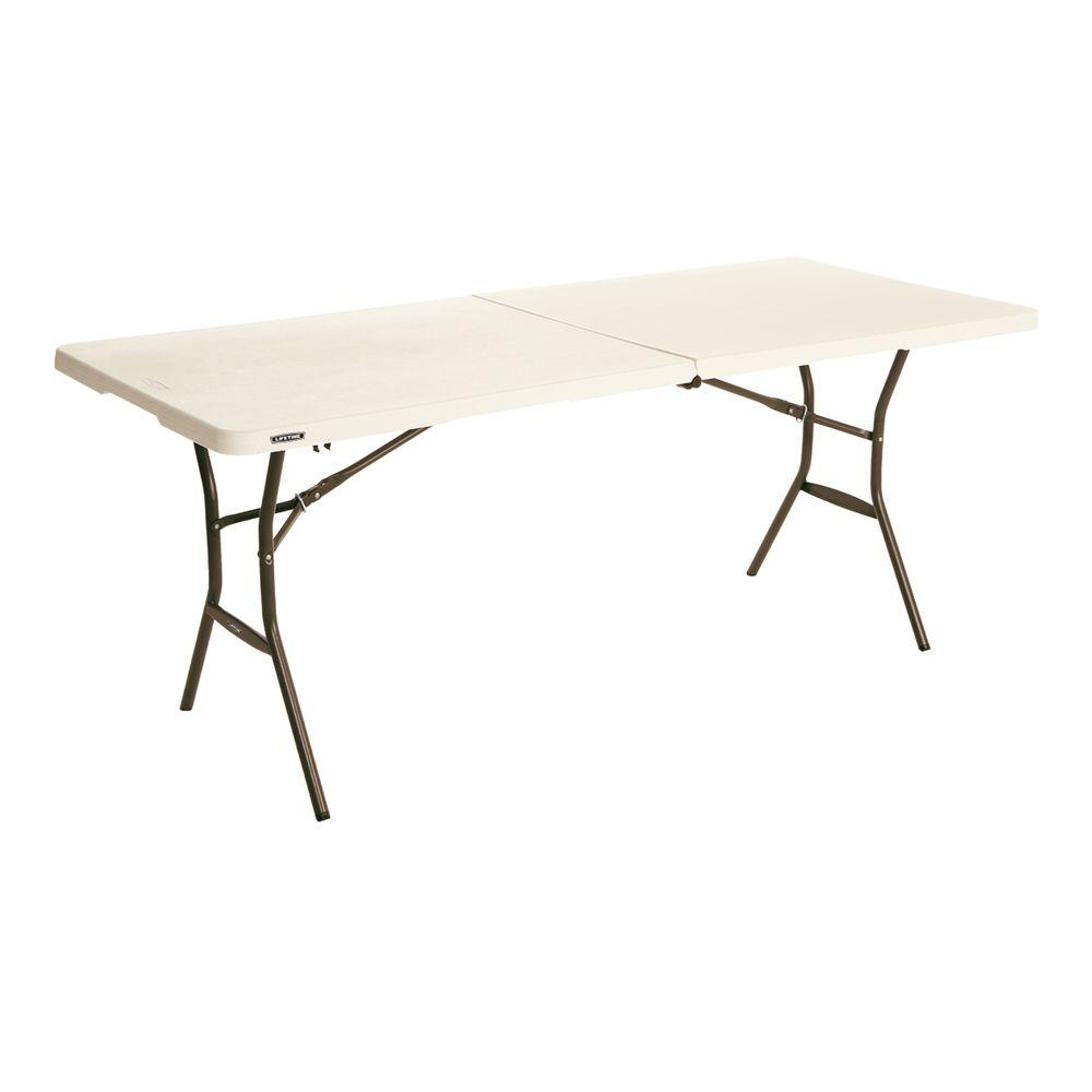 Lifetime 6 ft Essential Almond Fold in Half Table The