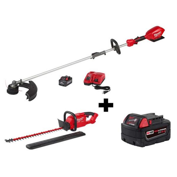 M18 FUEL QUIK-LOK 18-Volt Lithium-Ion Brushless Cordless String Trimmer Kit with Free Hedge Trimmer and 5.0 Ah Battery
