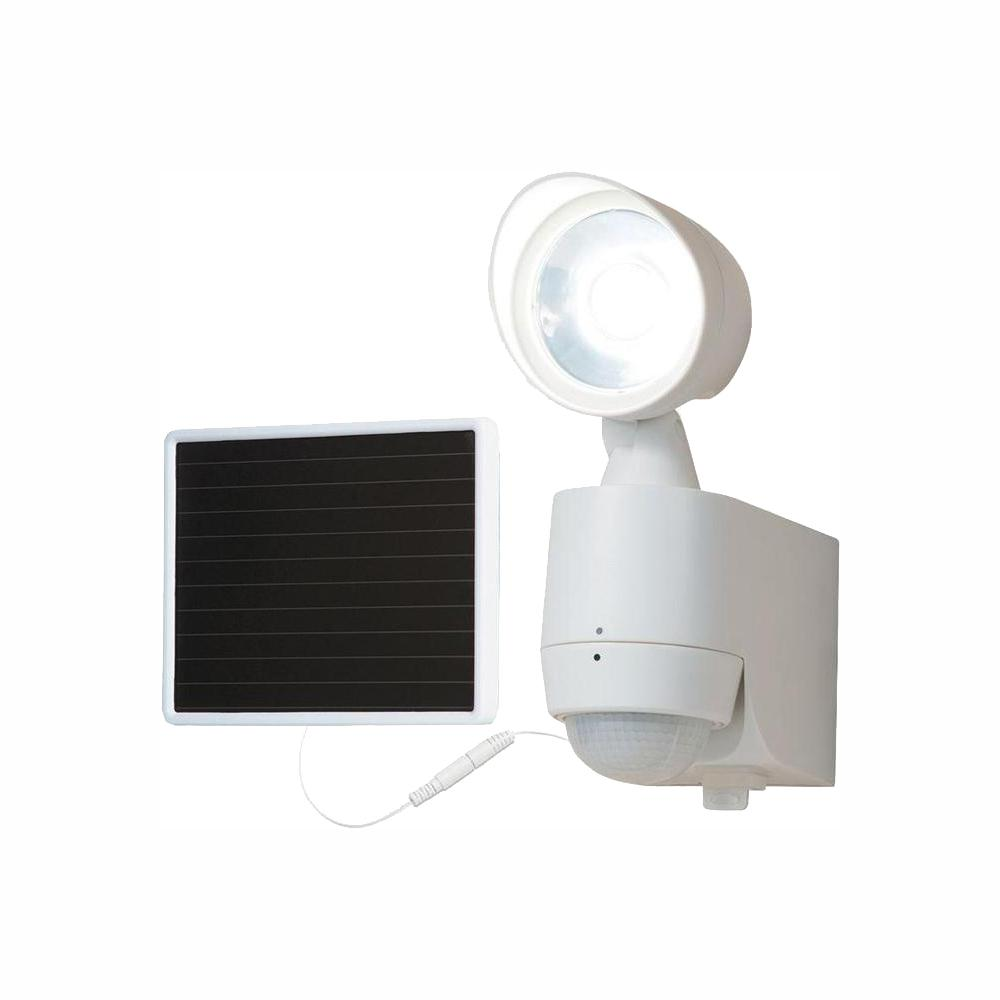 All-Pro 130-Degree White Motion Activated Sensor Single-Head Outdoor Solar Powered Integrated LED Security Flood Light