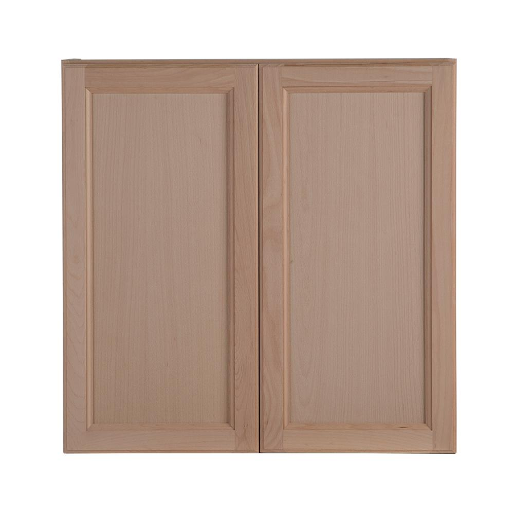 Hampton bay assembled 30 in x 30 in x in easthaven wall cabinet in unfinished german for Unfinished wood bathroom cabinets