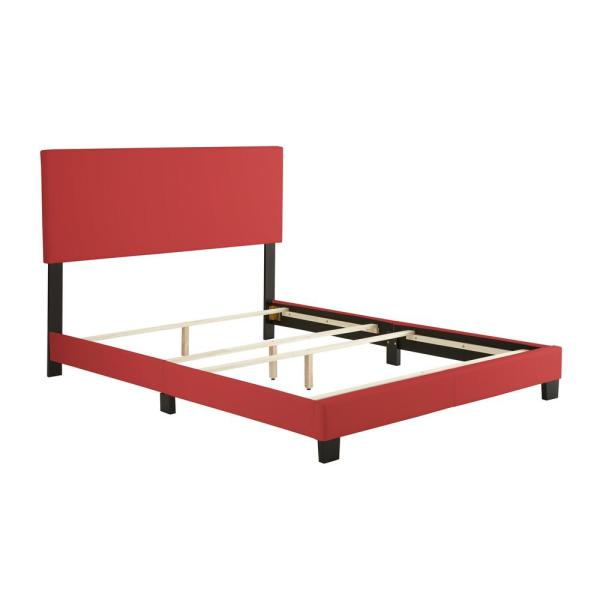 Rest Rite Barrett Red Queen Faux Leather Upholstered Platform Bed Frame